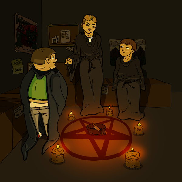 An illustration of three boys dressed in devil worship robes, based on a short story.