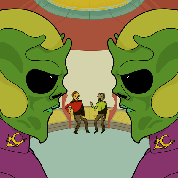 An illustration of two identical aliens facing each other, a Star Trek inspired setting based on a short story.
